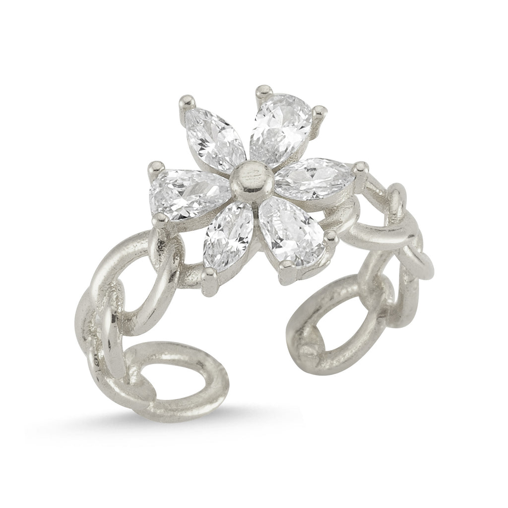 Zirconium Flower Gold Plated Adjustable Ring Wholesale Turkish 925 Crt Sterling Silver Jewelry