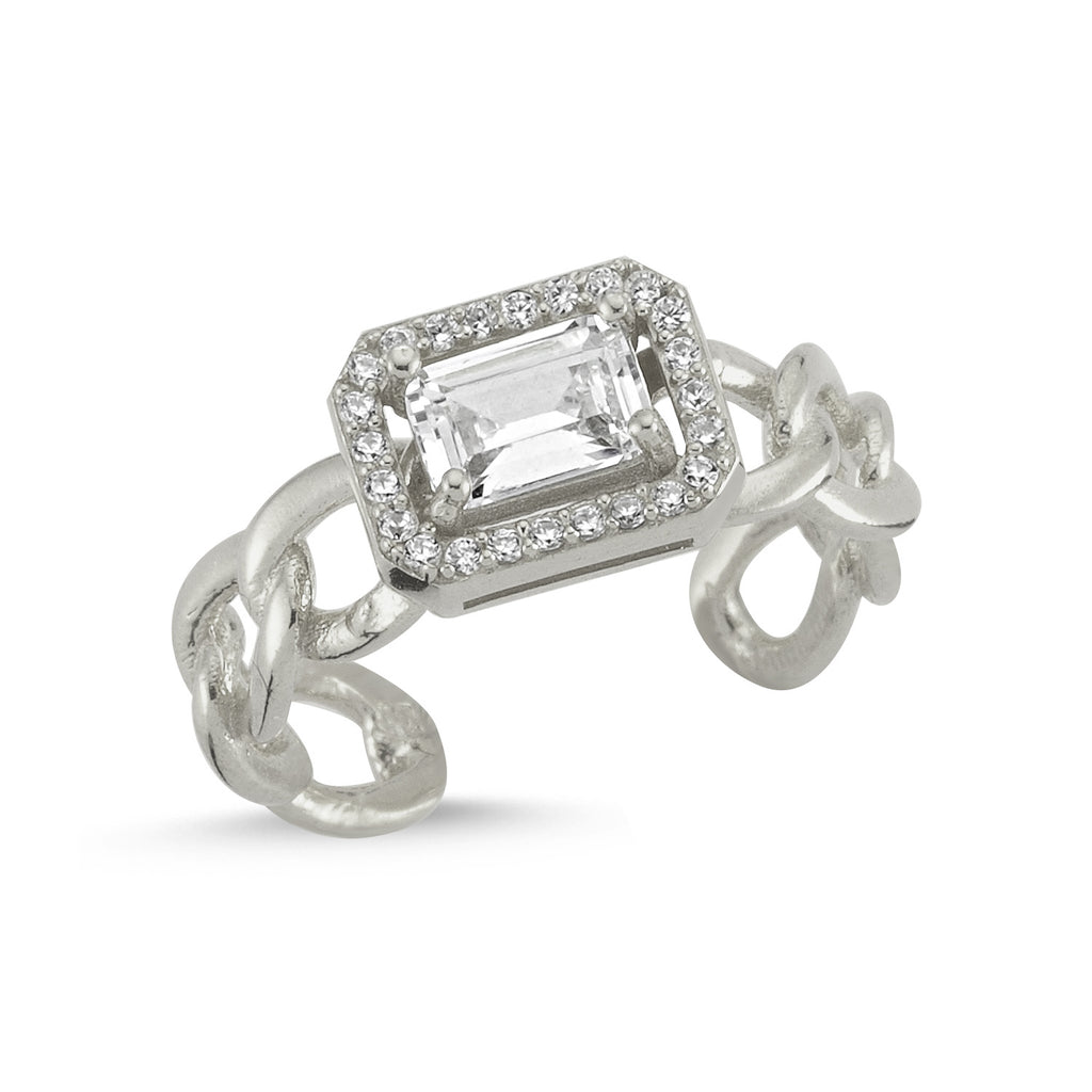 Zirconium Emerald Cut Gold Plated Adjustable Chain Ring Wholesale Turkish 925 Crt Sterling Silver Jewelry