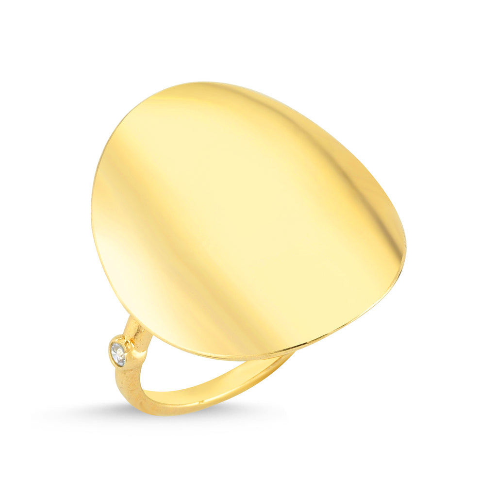 Big Plain Round Gold Plated Adjustable Ring Wholesale Turkish 925 Crt Sterling Silver Jewelry