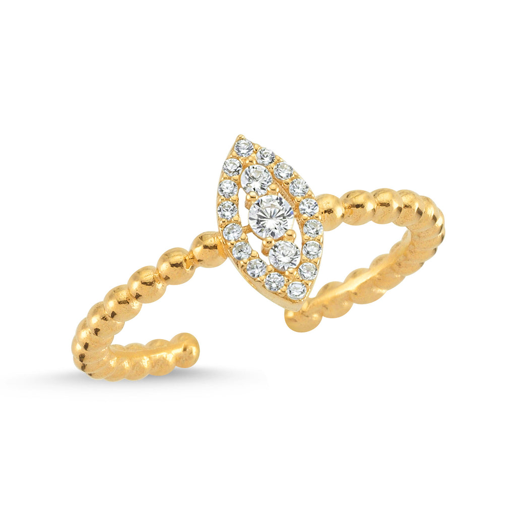 Zirconium Marquise Gold Plated Adjustable Ring Wholesale 925 Crt Sterling Silver Turkish Jewelry