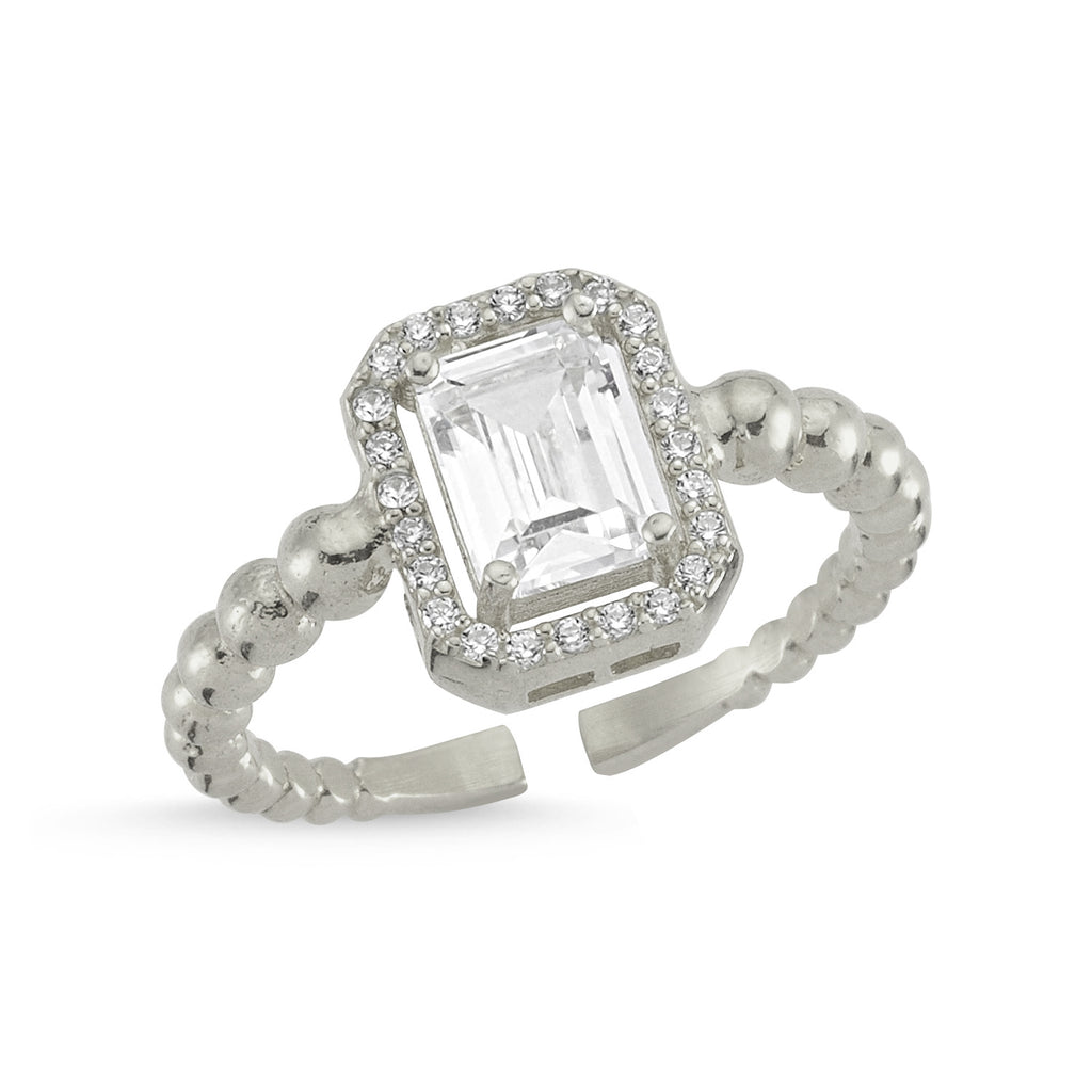 Zirconium Emerald Cut Gold Plated Adjustable Ring Wholesale Turkish 925 Crt Sterling Silver Jewelry