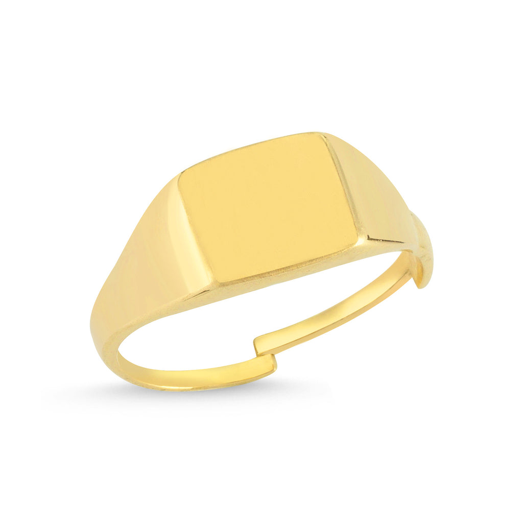 Plain Square Gold Plated Adjustable Ring Wholesale 925 Crt Sterling Silver Turkish Jewelry
