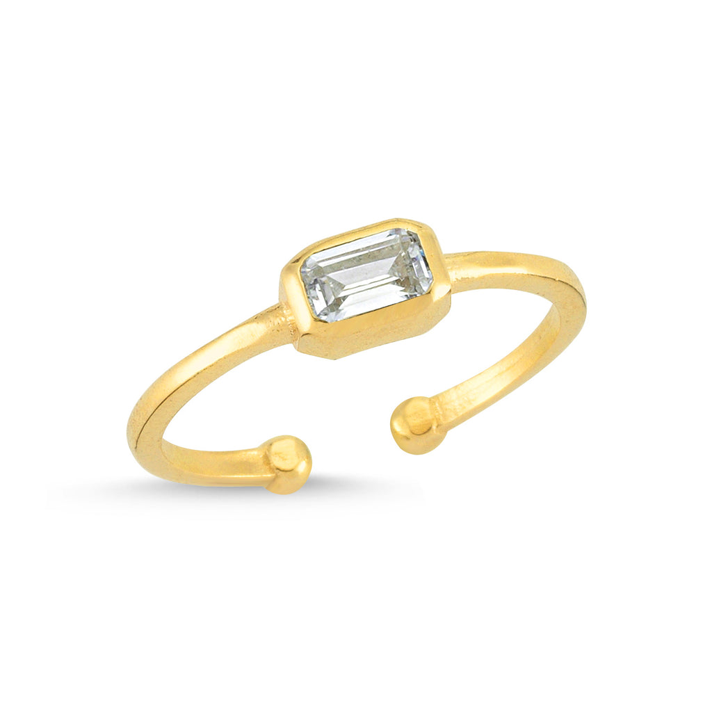 Zirconium Square Gold Plated Adjustable Ring Wholesale Turkish 925 Crt Sterling Silver Jewelry