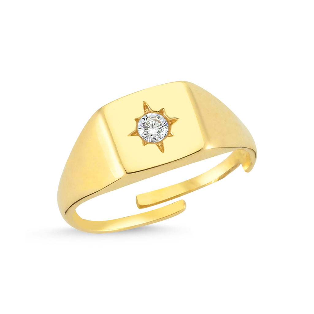 Zirconium Northstar Square Gold Plated Adjustable Ring Wholesale Turkish 925 Crt Sterling Silver  Jewelry
