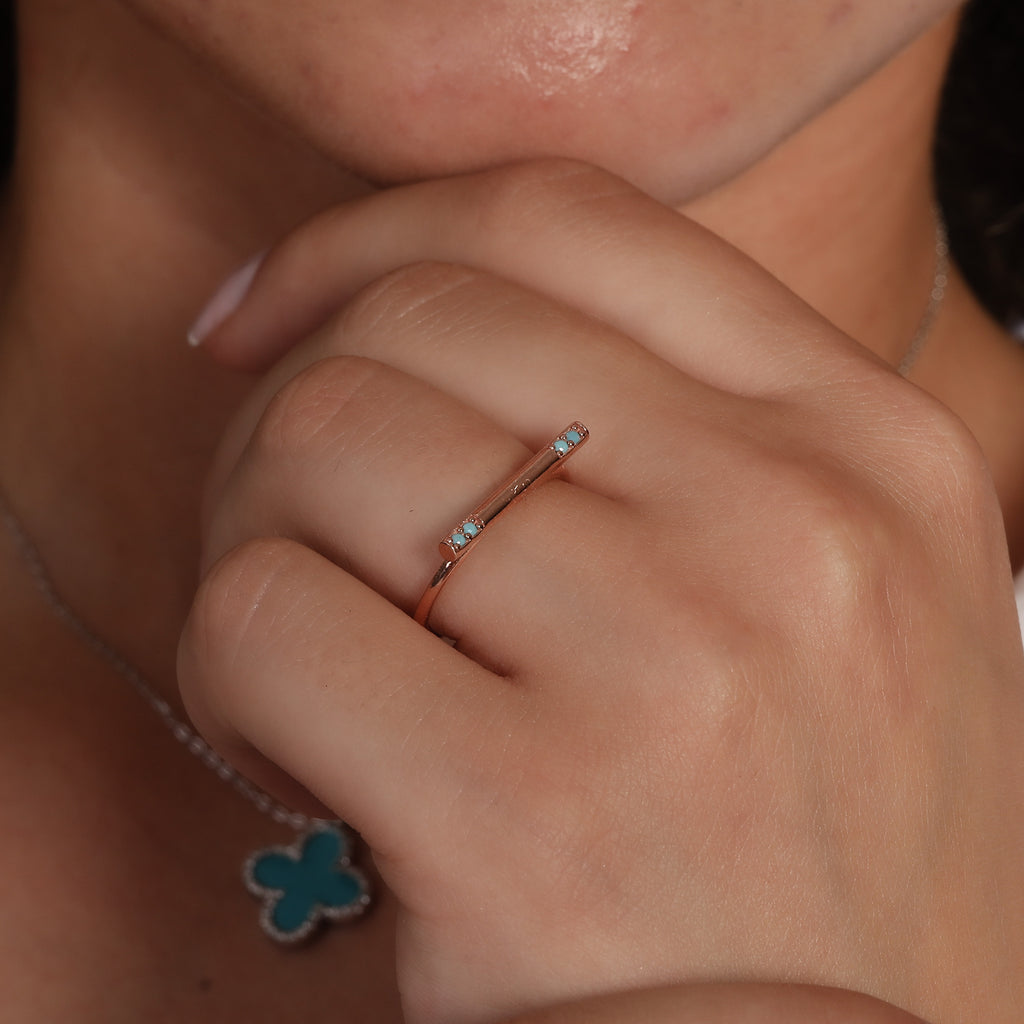 Turquoise Bar Gold Plated Adjustable Ring Wholesale 925 Crt Sterling Silver Turkish Jewelry