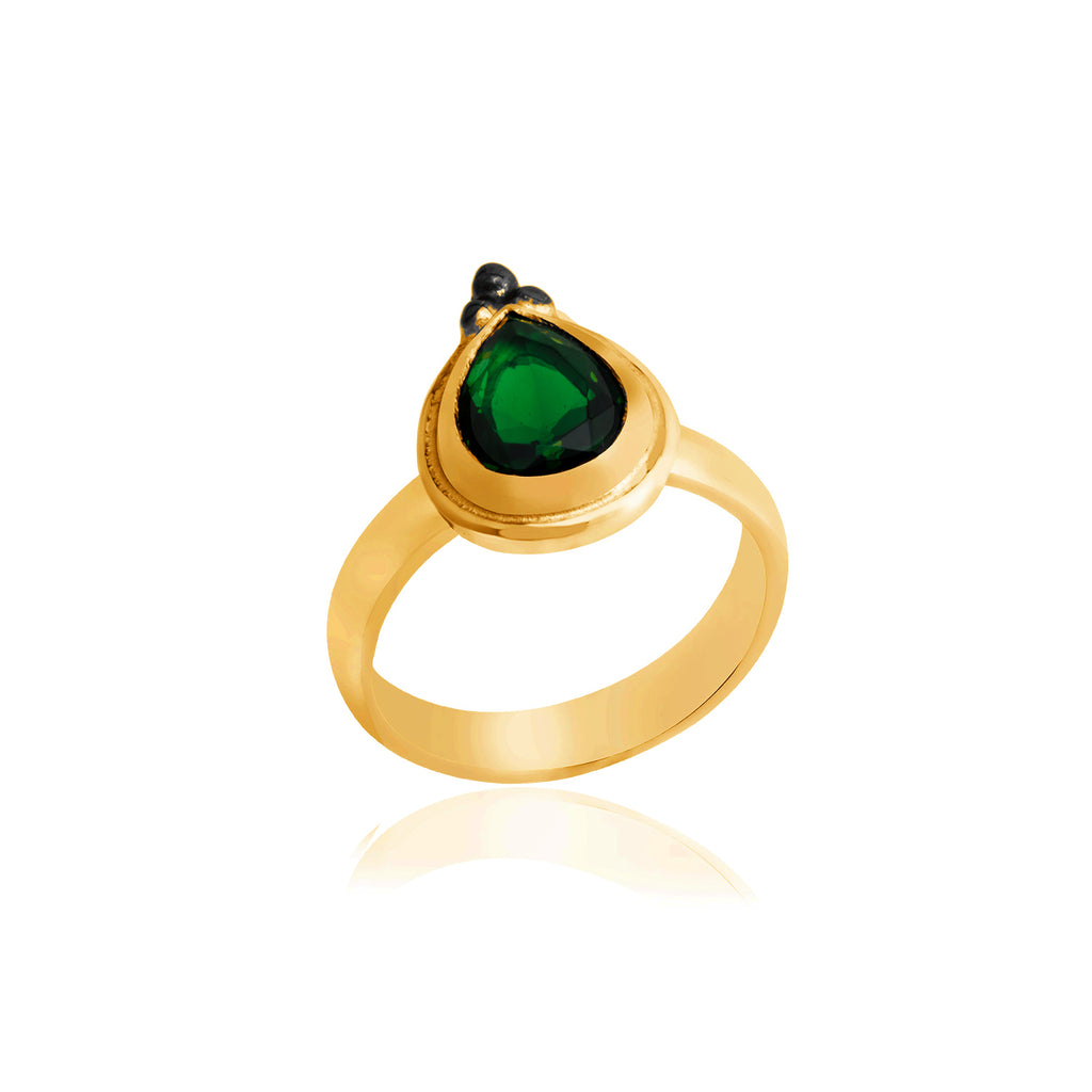 925 Crt Sterling Silver Handcrafted Emerald Green Zirconium Authentic Gold Plated Fashionable Ring Wholesale Turkish Jewelry