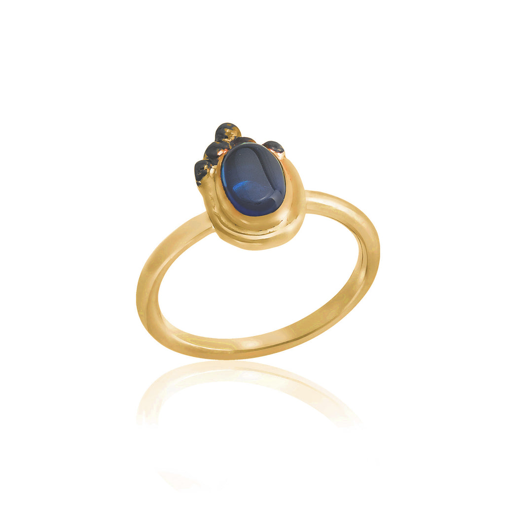 925 Crt Sterling Silver Handcrafted Dark Blue Zirconium Authentic Gold Plated Fashionable Ring Wholesale Turkish Jewelry