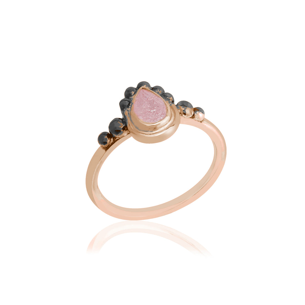 925 Crt Sterling Silver Handcrafted Light Pink Zirconium Authentic Gold Plated Fashionable Ring Wholesale Turkish Jewelry