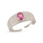 Pink Oval Zirconium Gold Plated Adjustable Ring Wholesale 925 Crt Sterling Silver  Turkish Jewelry