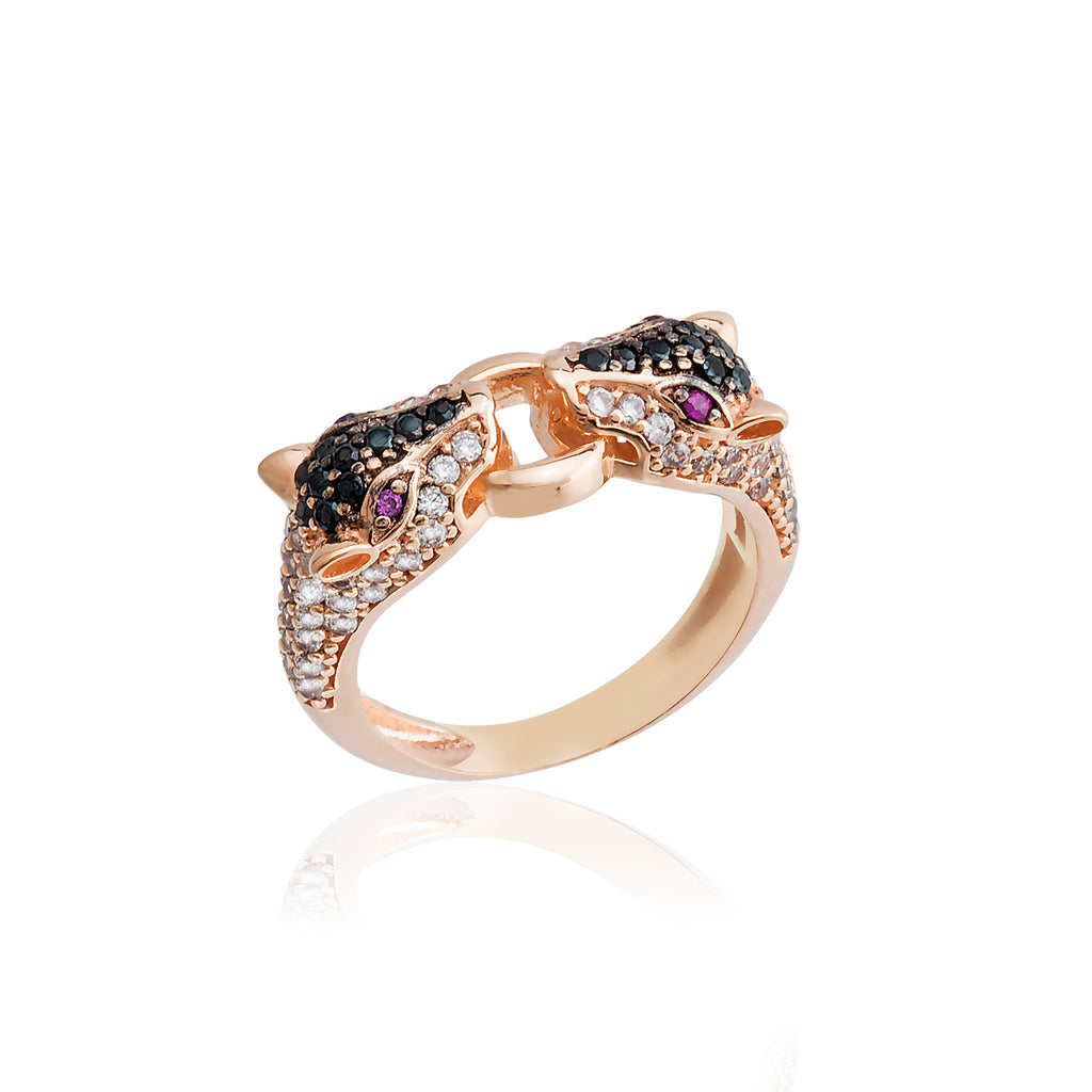 Handcrafted Zirconium Leopar Gold Plated Fashionable Adjustable Ring Wholesale Turkish 925 Crt Sterling Silver Jewelry