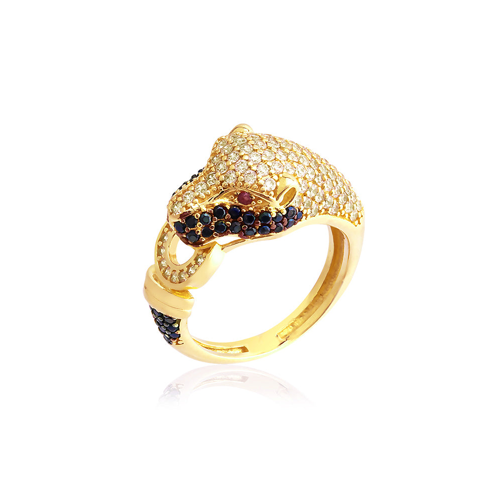 Handcrafted Black White Zirconium Leopar Gold Plated Fashionable Ring 925 Crt Sterling Silver Wholesale Turkish Jewelry