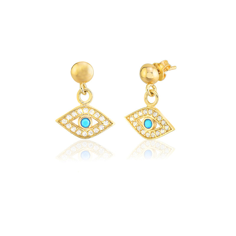 925 Crt Sterling Silver Handcrafted White Zirconia With Turquoise Eye Dangle Earring Wholesale Turkish Jewelry