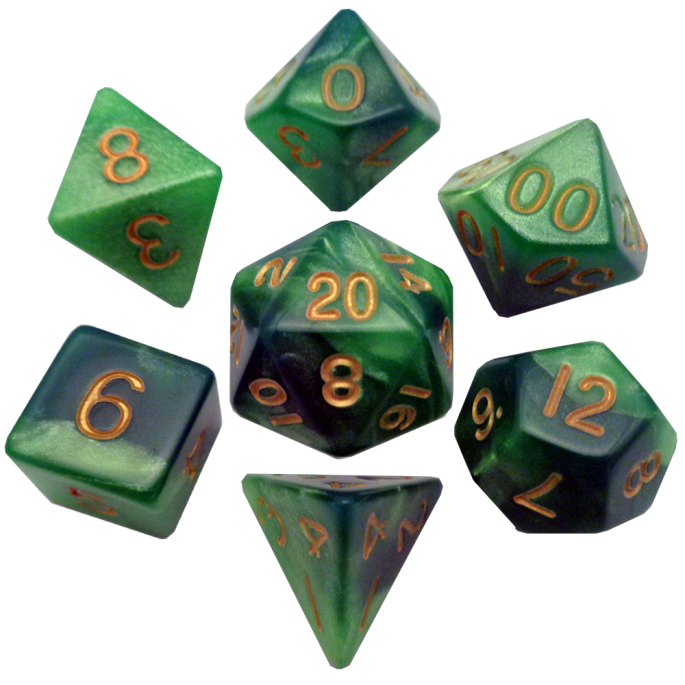 MDG 16mm Acrylic Poly Dice Set: Green/Light Green w/Gold Numbers