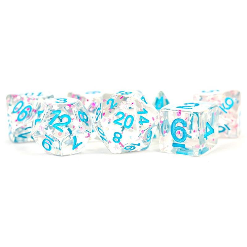 MDG 16mm Resin Poly Dice Set: Clear Confetti