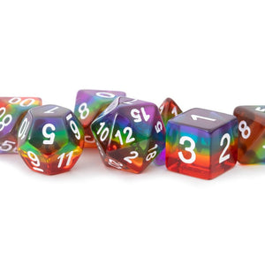 MDG 16mm Resin Poly Dice Set: Translucent Rainbow