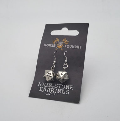 Norse Foundry D20 Earrings: Chainmail Silver