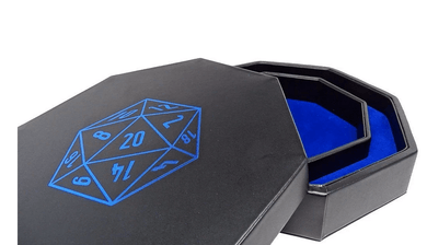Easy Roller Dice Tray With Lid: Blue D20 - Lulu Games