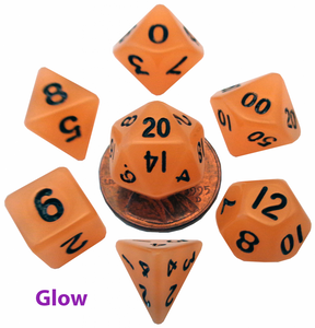 MDG Mini Polyhedral Dice Set; Glow Orange