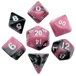 MDG Mini Polyhedral Dice Set; Pink/Black with White Numbers