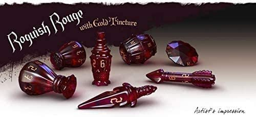 Poly Hero Dice: The Rogue 7-Piece Dice Set: Roguish Rouge & Gold Tincture