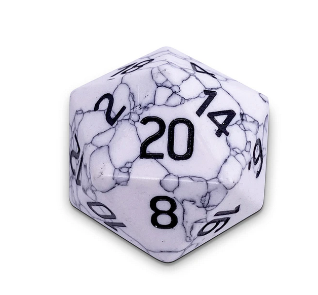 Norse Foundry Gemstone Dice White Howlite 30mm Boulder Lulu Games Entry into monthly patreon giveaway. norse foundry gemstone dice white howlite 30mm boulder lulu games