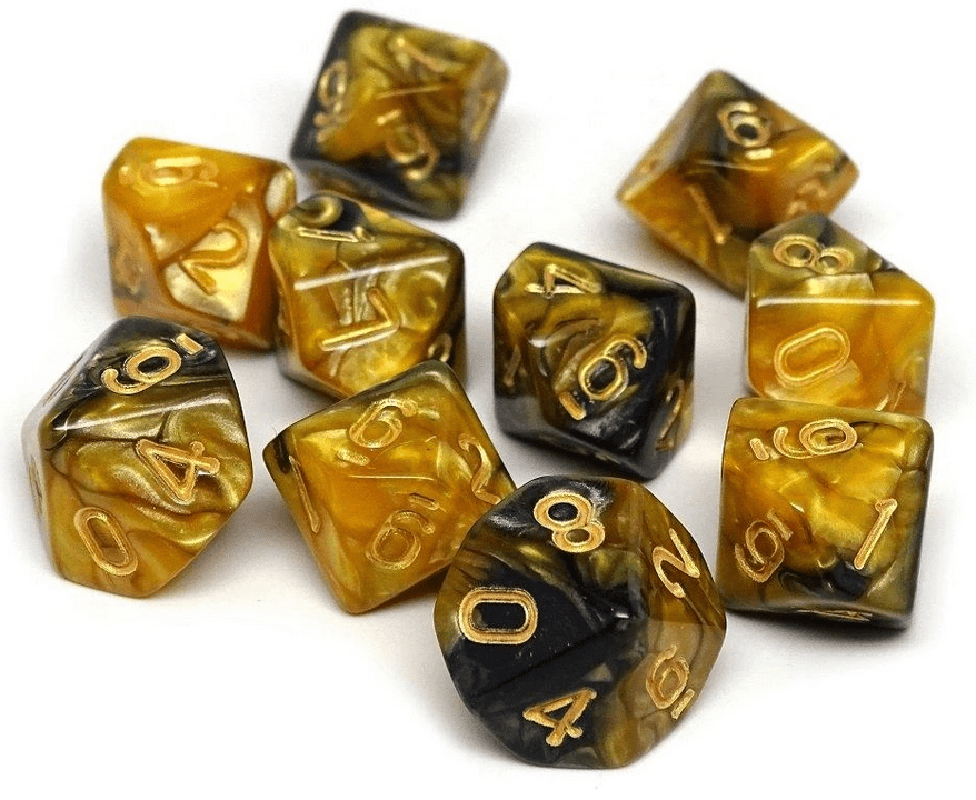 Easy Roller Dice 10d10 Pack: Yellow and Black Granite - Lulu Games