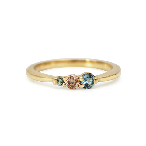 Bagru Gold Teal Sapphire and Brown Diamond Ring