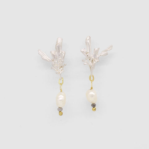 Birds of Paradise Pearl and Diamond Earrings