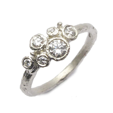 White Gold Textured Diamond Cluster Ring