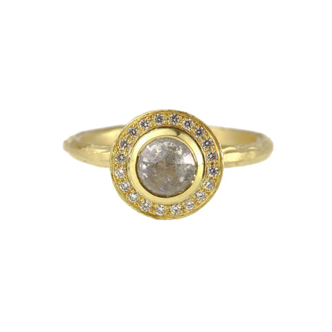 Salt And Pepper Rose Cut Diamond Halo Ring