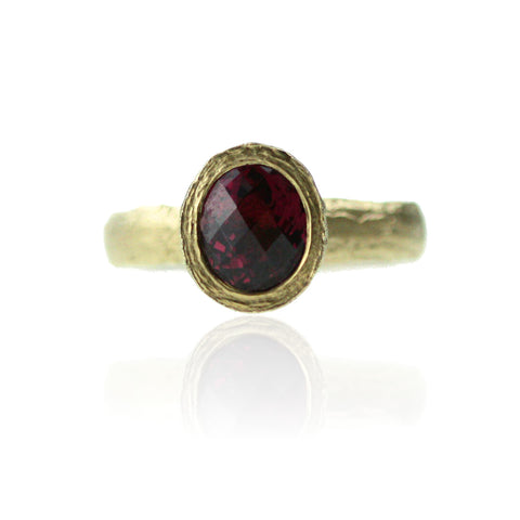 Checkerboard Garnet Ring