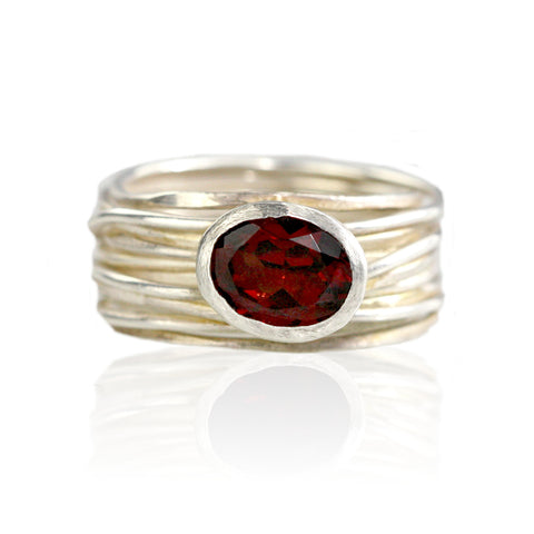 Silver and Garnet Spaghetti Ring