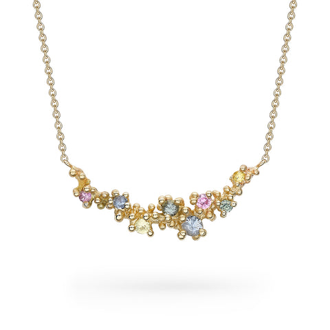 Mixed Sapphire Granule Bar Necklace