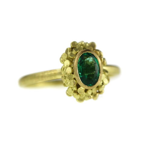 Emerald Speckle Crown Ring