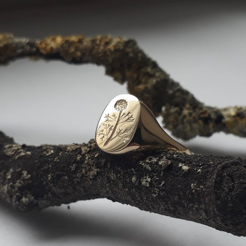 10ct Gold Dandelion Signet Ring