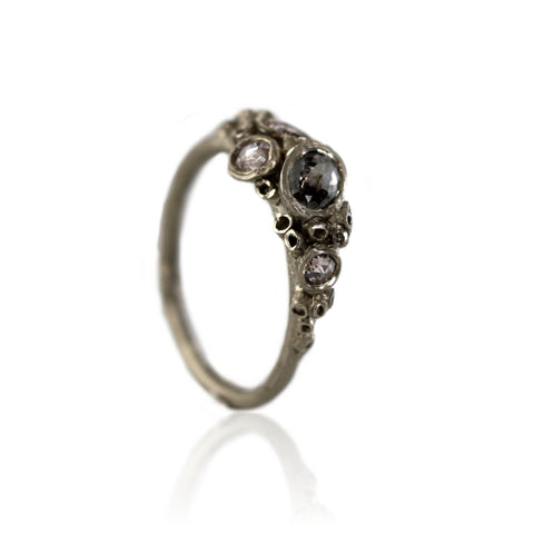 White Gold and Grey Diamond Barnacle Ring