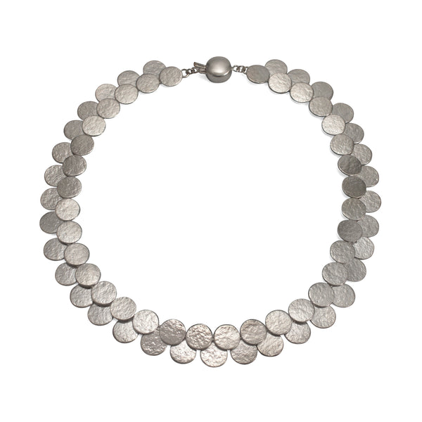Silver Paillette Double Row Disc Collar