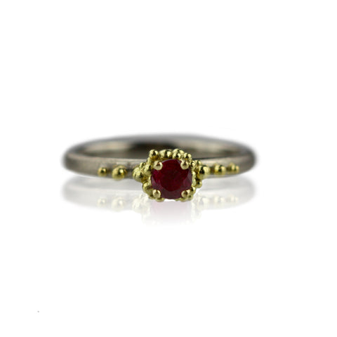 Mixed Metals Ruby Granule Ring