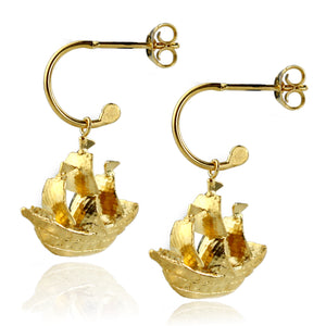 Gold Galleon Ship Earrings