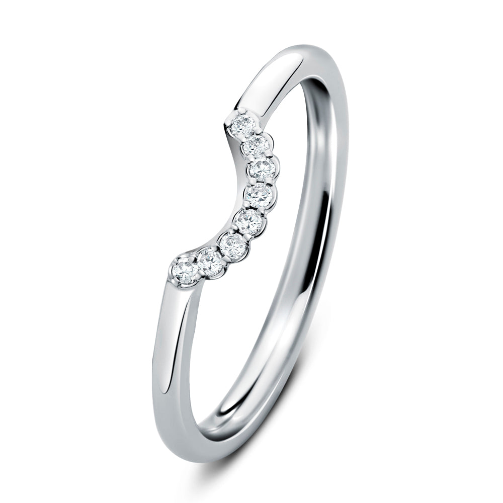 Cannele Platinum and Diamond Wedding Ring