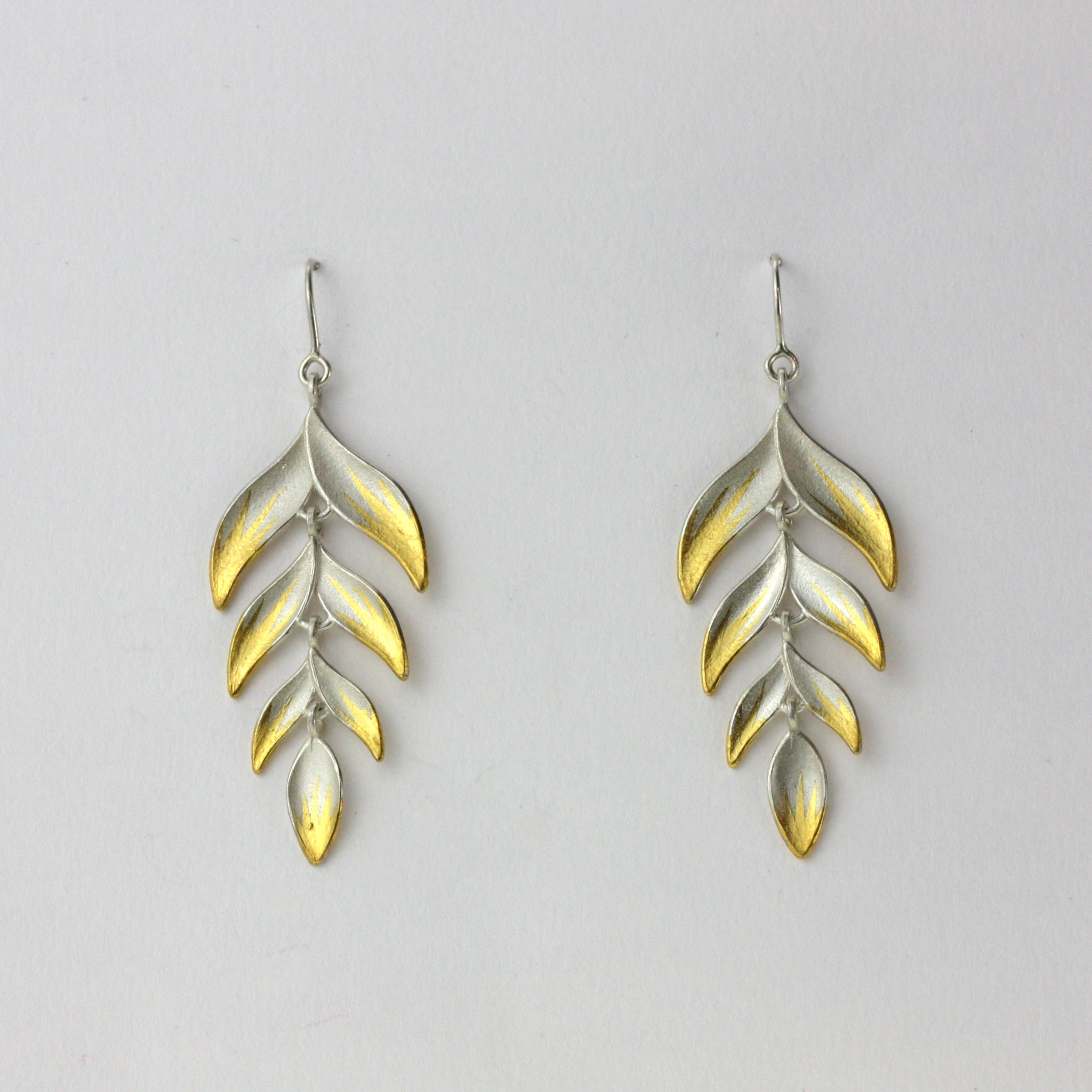 Gold Tipped Long Palm Earrings