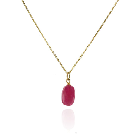 Small Faceted Ruby Pendant