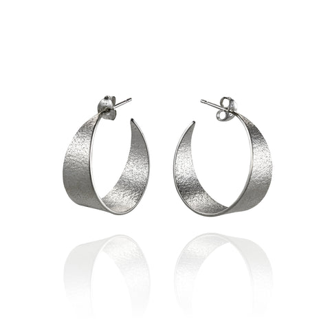 Medium Silver Icarus Hoop Earrings
