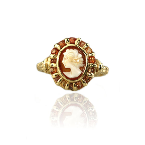 Cameo and Orange Sapphire Halo Ring - Made To Order