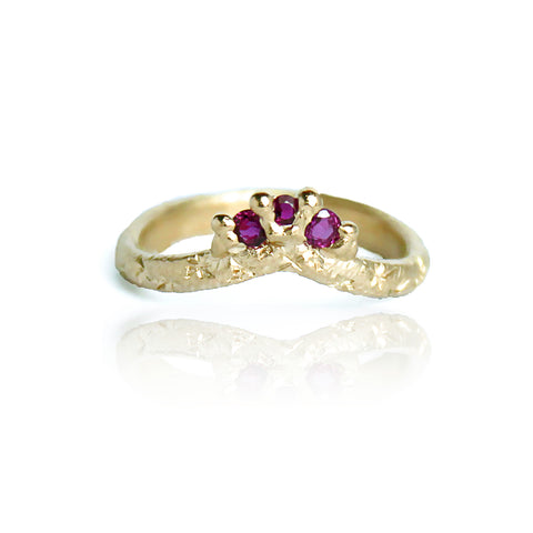 9ct Gold Ruby Arc Ring