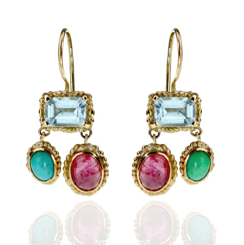 Aquamarine, Ruby and Turquoise Earrings