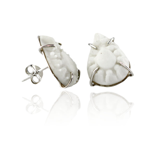 Intricate White Porcelain Teardrop Studs