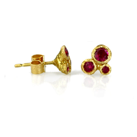 Fairtrade 18ct Gold and Ruby Trio Earrings