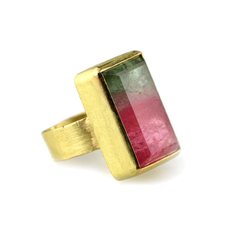 Large Watermelon Tourmaline Ring