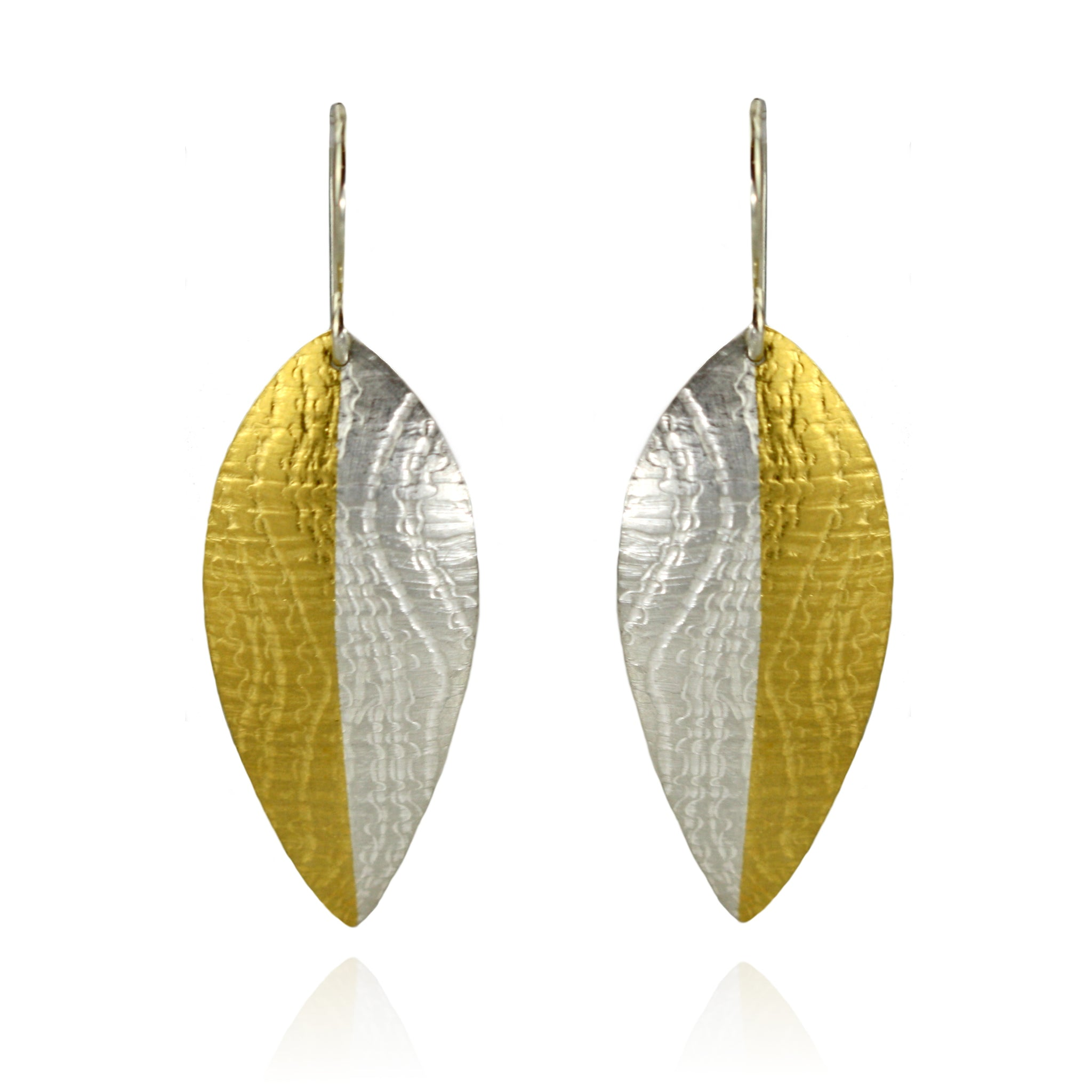 Silver and Gold Leaf Earrings